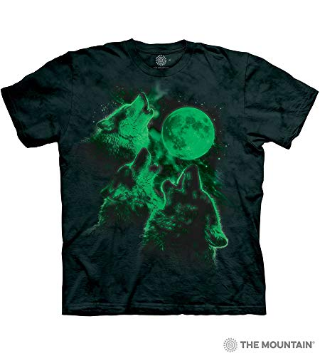 (The Mountain Adult Unisex T-Shirt - Three Wolf Moon Glow 3XL (+$4) )