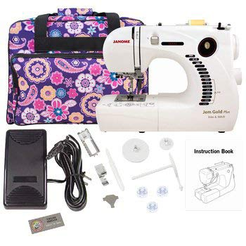 Janome 661G Jem Gold Plus Trim and Stitch Sewing Machine Bundle with Tote Bag (Janome 760 Sewing Machine)