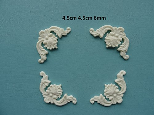 - Decorative plume corners x 4 applique onlay furniture moulding PC2