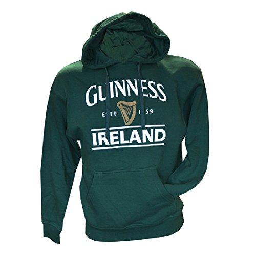 Guinness Pullover Hoodie With Guinness Logo & Ireland Print, Forest Green Colour (Guinness Beer Hoodie)
