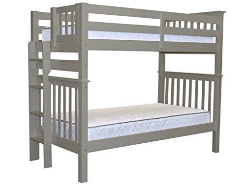 Bedz King Tall Mission Style Bunk Bed Twin over Twin with En