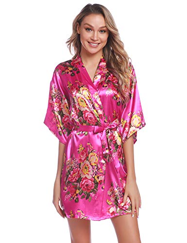 - Aiboria Women's Floral Satin Kimono Robes Short Sleeve Bridesmaid Bride Robes Bathrobe Rose Red