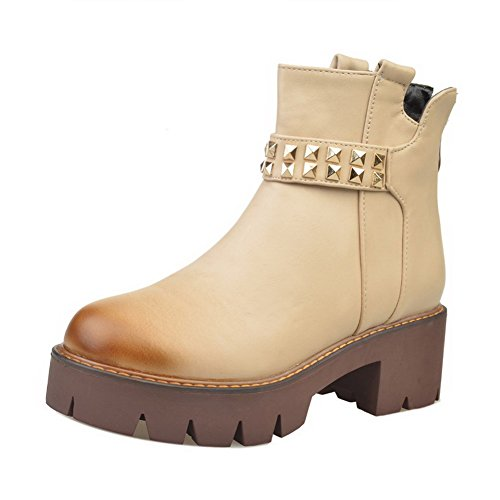Allhqfashion Femmes Zipper Chaton-talons Pu Solide Low-top Bottes Beige