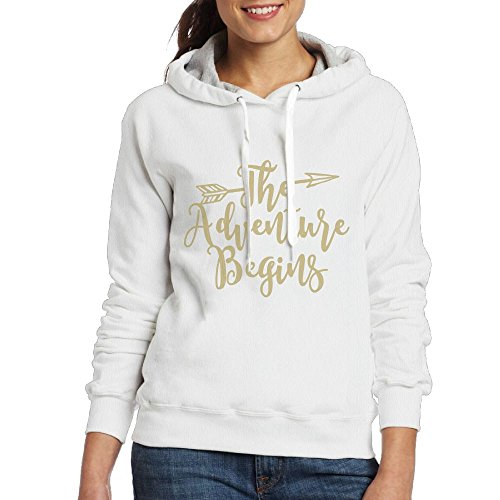 SmallTing Women Adventure Begins Leisure Travel White Hoodie S