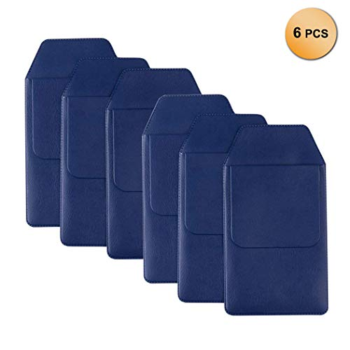 6 Pcs PU Leather Pocket Protector Classic School Hospital Office Supplies for Pen Leaks - Deep Blue & Black ()