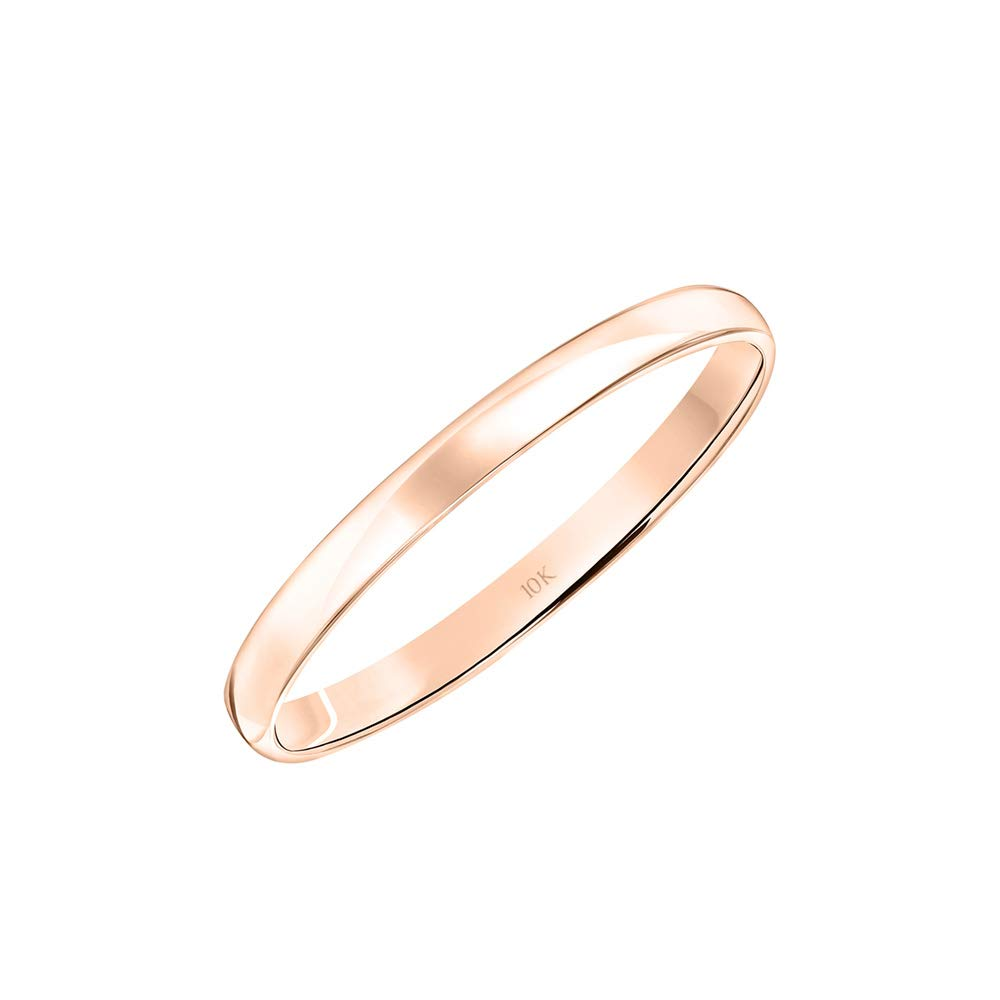 Women's 10K Rose White or Yellow Gold 2MM Classic Plain Simple Wedding Band by Brilliant Expressions