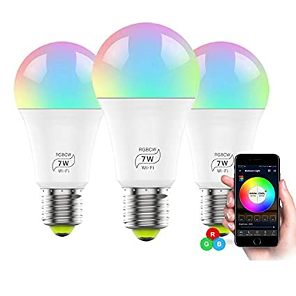 60W Equivalent No Hub Required Simu US Smart Light Bulb E27 WiFi Multicolor LED Bulb Work with Alexa Google Home and IFTTT 7W RGB Color Changing Bulb