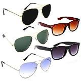 Elligator Aviator Men's Wayfarer Sunglasses(Multicolour) Combo of 5