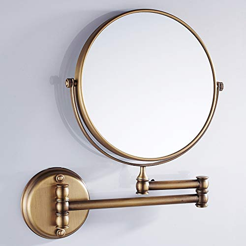 VELIMAX 8-Inch Solid Brass Bathroom Vanity Mirror Wall Mounted Folding Makeup Double - Wall Bathroom Brass Mirrors