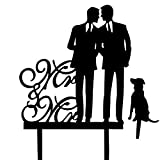 Same Sex Gay Wedding Cake Topper - Mr and Mr with A Dog Cake Topper - Silhouette Groom and Groom Wedding Party Decorations -Same Gay Marriage Union