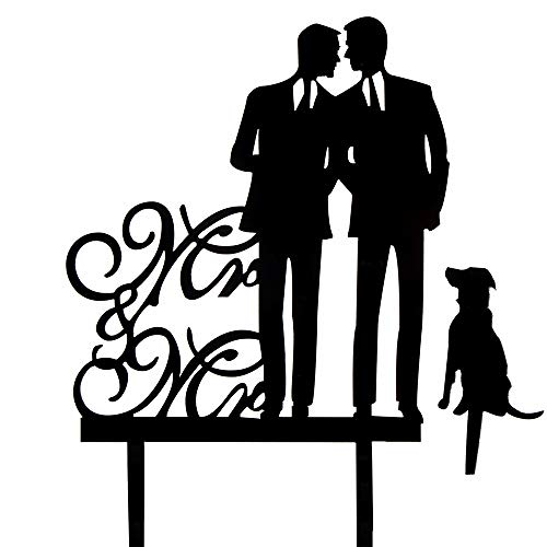 Same Sex Gay Wedding Cake Topper - Mr and Mr with A Dog Cake Topper - Silhouette Groom and Groom Wedding Party Decorations -Same Gay Marriage Union by Chien-Min666