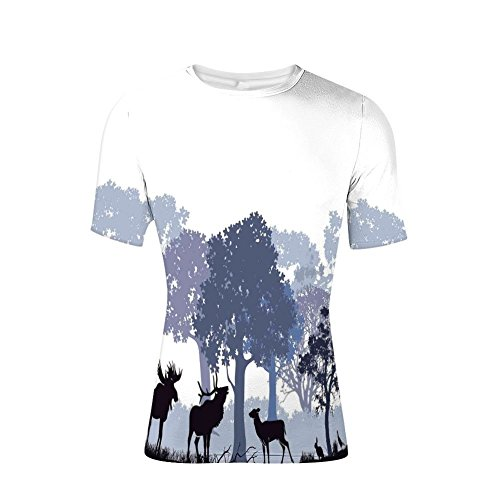 Devil Rays Wood - T-Shirt Short Sleeves,Woods North American Wild Animals Deer Hare Elk,Mens Cool 3D Print