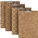 Bazic Standard Size Pattern Hardboard Clipboard with Low Profile Clip, Assorted Designs (6 Pack)