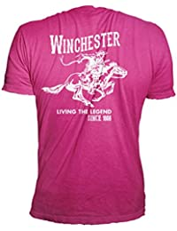 Official Winchester Men and Women Cotton Vintage Rider Graphic Printed Short Sleeve T-Shirt
