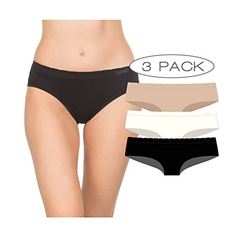 Hugger Spandex Boyshort Hip (Laundry by Shelli Segal Seamless Hipster Panty, Set Of Three In Ivory, Nude and Black, X-Large)