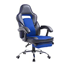 HomCom 921-028BU High Back Race Car Style Reclining Executive Office Chair with Retractable Footrest Black/Blue