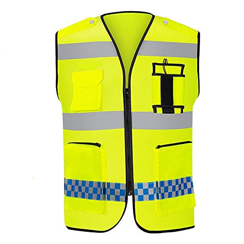 KODH Mesh Breathable Reflective Vest Construction High Visibility Work Reflective Vest Safety Protection Warning Reflective Vest (Color : Yellow-1) ()