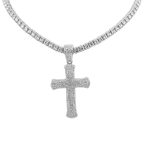 White Gold-Tone Iced Out Hip Hop Bling Double Cross Pendant with 1 Row Stones Tennis Chain 20