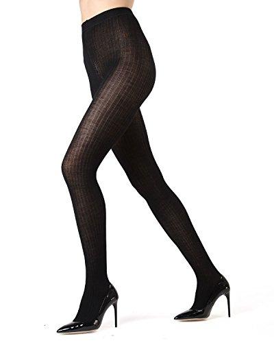 Memoi Merino Wool/Tencel Blend Ribbed Tights | Women's Hosiery Black ML 511 Medium/Large -