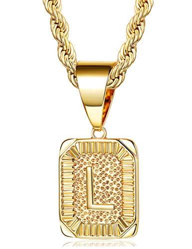 (Fiasaso L Letter Necklace for Men Women Gold Plated Initial Alphabet Pendant Necklace Rope Chain 4MM)