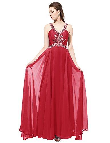 Dresstells®Vestido De Mujer Largo Fiesta Partido Noche Con Cuentas Espalda Al Aire Rojo Oscuro