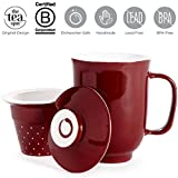 The Tea Spot Steeping Mug, 3-Piece Handcrafted Ceramic Tea Mug with Infuser & Lid, 16-Ounce, color: Red Rock