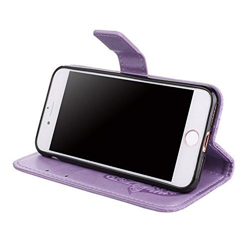 Hülle für iPhone 7 ,Schutzhülle Für IPhone 7 geprägte Floweer Muster Retro Art Horizontale Flip Stand PU Ledertasche Abdeckung ,cover für apple iPhone 7,case for iphone 7 ( Color : Purple )