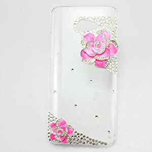 bling 3D clear case hot pink flower diamond crystal hard back cover for HTC Butterfly S 9060 901e