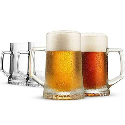 Large Beer Glasses with Handle 17.1/4 Ouz Set of 4 Glassware Drinkware TkGoods from TkGoods