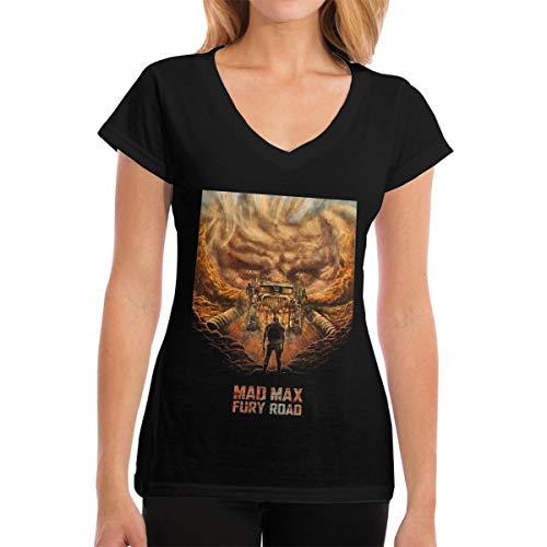 YumeeTshirt MAD Max Fury Road Women V T-Shirts Simple Cotton T Shirts M Black (Mad Max Fury Road Blu Ray Release)