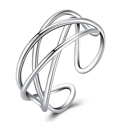 7dd7f34aca6c YAZILIND moda 925 Sterling plata línea hueca abierta anillos ancho moda  personalidad boda promesa eternidad anillo