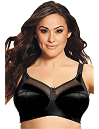 Womens Plus Size Wirefree Satin Bra Black,44 H