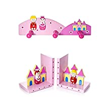 Set of Prince & Princess Kids Wooden Bookends and Matching Wall Hooks for Girls Nursery or Bedroom