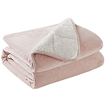Image of Degrees of Comfort Weighted Throw Blanket Kids and Adult Size, Ultra Fuzzy & Soft Sherpa Weighted Blanket Throw - 10 Lbs 50x60 Blush Degrees of Comfort B07RXMRNPC Weighted Blankets