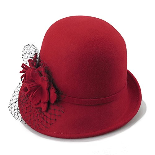 Women's 100% Wool Felt Cloche Hat with Flower (Red)