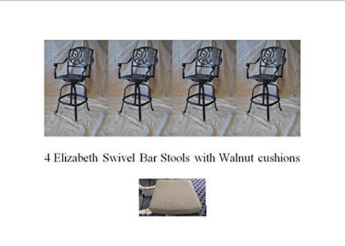 Elizabeth Outdoor Patio Set 4pc Swivel Bar Stools 30 Cast Aluminum Dark Bronze, Walnut Color