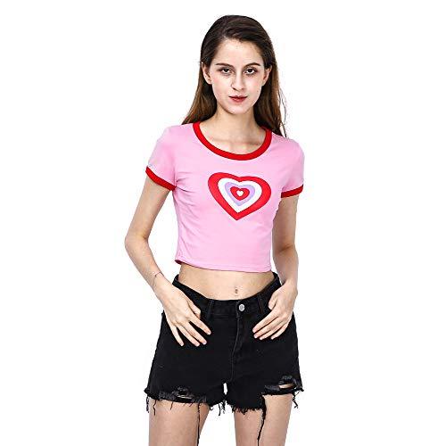Women Casual Print Crop Top T-Shirt Fashion O-Neck Streetwear Tops Tees Harajuku T-Shirt (M) Pink