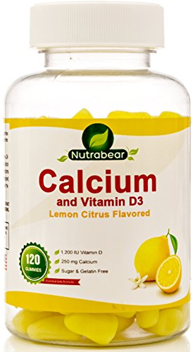 Calcium + Vitamin D3 Gummies, Sugar Free, Citrus Flavored, 100% Vegetarian, 120 Gummies, a Chewable Supplement for Children & Adults, By Nutrabea