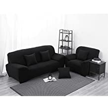 Stretch Lounge Sofa Couch Seat Cover 3 seater Slipcover Case (Black)