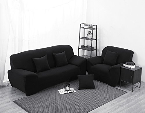Black High Elasticity Fabric Sofa Slipcover Couch Cover ProtectorThree-Seater 74-90 Inch