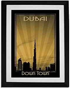 Dubai Skyline Down Town - Sepia F01-nm (a1) - Framed