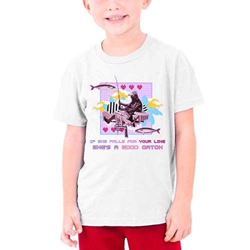 YUNLIHO Funny Custom If She Falls for Your Line She's A Good Catch T-Shirt Short Sleeve for Adolescent White S