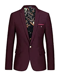 BONSPOL Spring&Autumn Mens' Suits New Fashion Blazer Solid Long Sleeve Jackets Coat