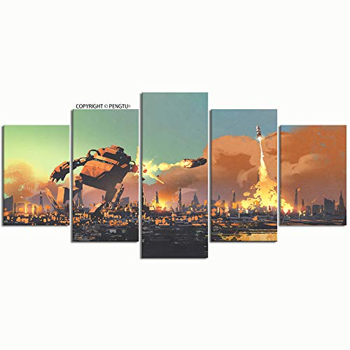 PENGTU Paintings Modern Canvas Painting Wall Art Pictures 5 Pieces Giant Robot Launching Rocket Punch Destroy Wall Decor HD Printed Posters ()