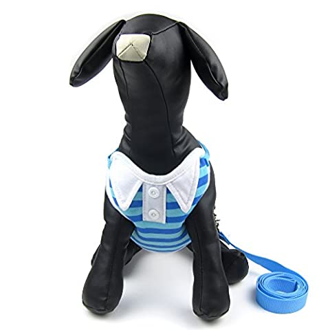 Alfie Pet by Petoga Couture - Eden Step-in Harness and Leash Set - Color: Blue Stripe, Size: Large (Eden Harness)