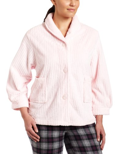Sleeve Bed Jacket (Casual Moments Womens Plus-Size Bed Jacket With Shawl Collar, Light Pink, 3X)