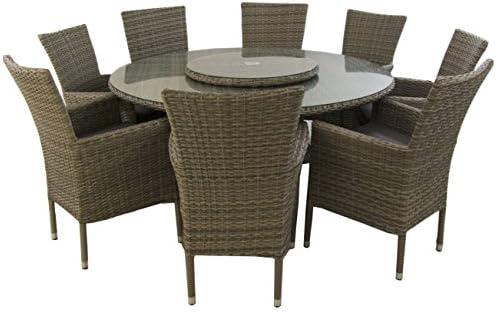Conjunto Muebles jardín, Mesa Redonda 150 cm y 8 sillones ...