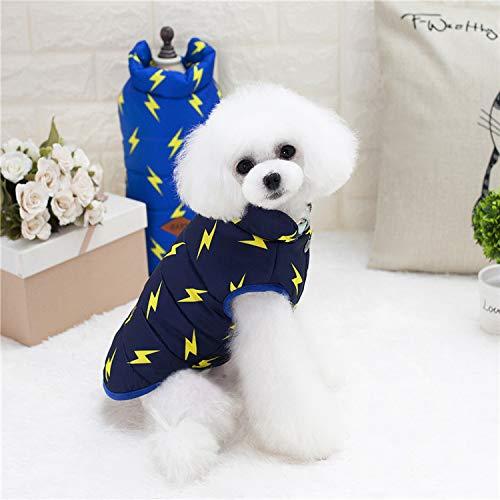 HUAIX petsuppliesmisc Nuovi Vestiti per Cani Vestiti Autunnali e Invernali Teddy Poodle Abbigliamento Pet Vestiti Fulmine Due Gilet di Cotone Gilet Imbottito (Colore   Navy blu, Dimensione   M)