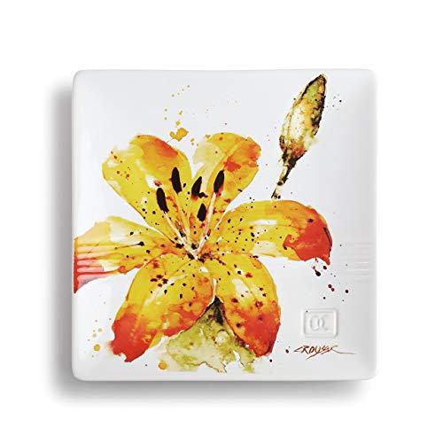 DEMDACO Dean Crouser Tiger Lily Watercolor Yellow 7 x 7 Ceramic Stoneware Decorative Snack Plate