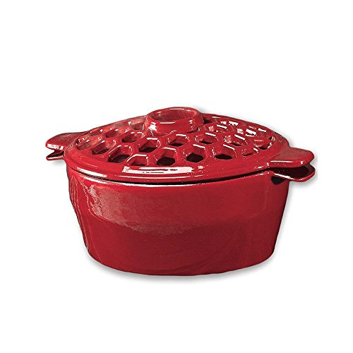 Wood Stove Steamer - Plow & Hearth 33869RD 33869-RD 1.5 Qt. Cast Iron Lattice Steamer, In Red, 1.5Qt,